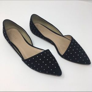 J Crew Sloan D'Orsay Black Suede Leather Flats 7